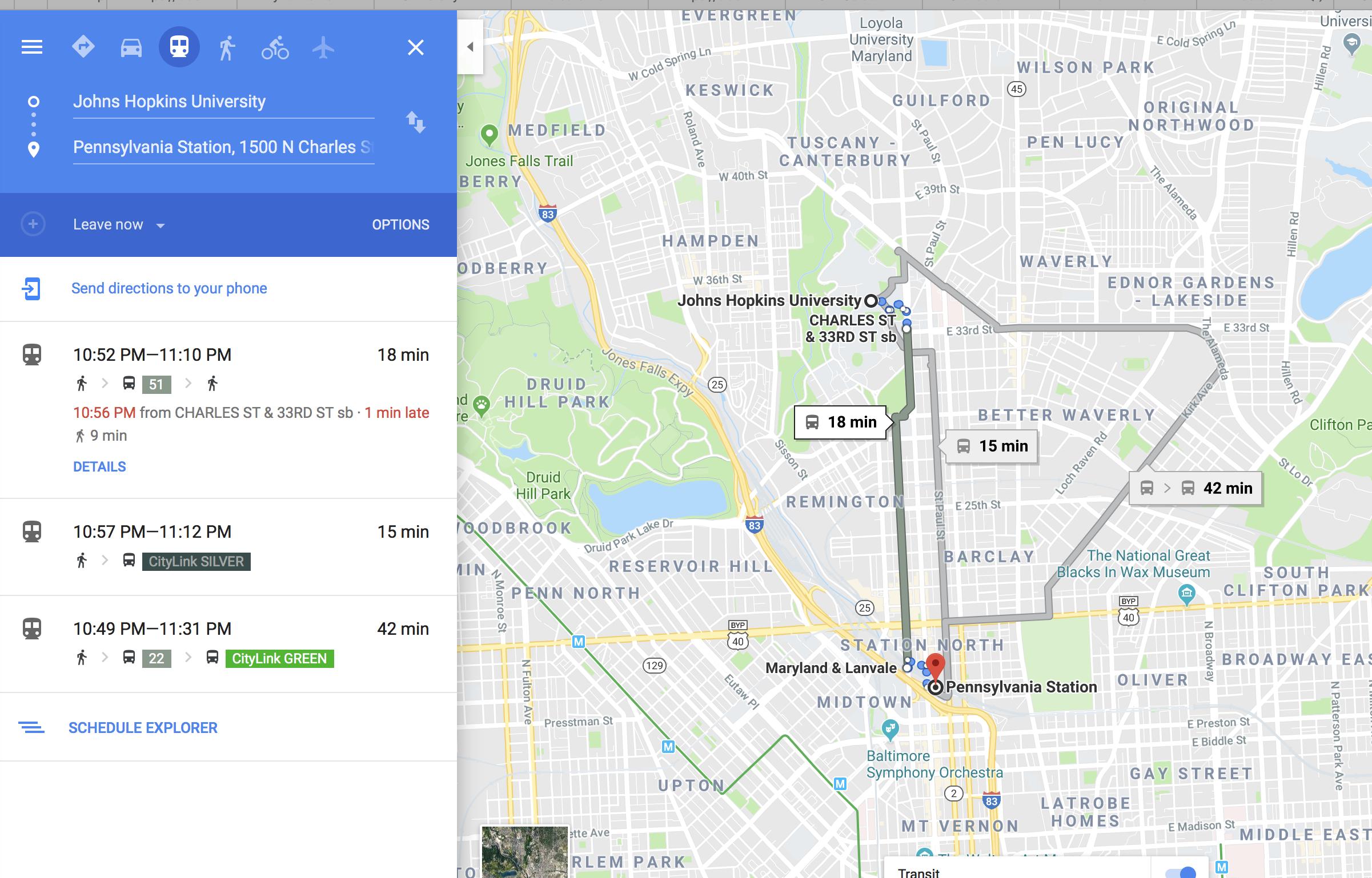Google maps trip